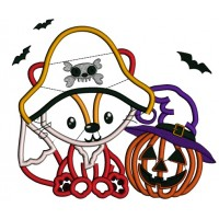Pirate Fox With Halloween Pumpkin Applique Machine Embroidery Design Digitized Pattern