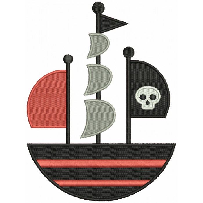 Pirate Ship With a Skull Flag Filled Machine Embroidery Design Digitized Pattern
