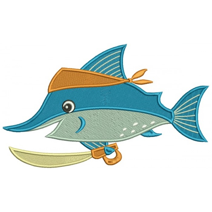 Pirate Swordfish Filled Machine Embroidery Design Digitized Pattern
