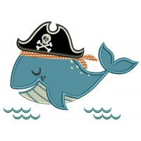 Pirate Whale Applique  Machine Embroidery Design Digitized Pattern