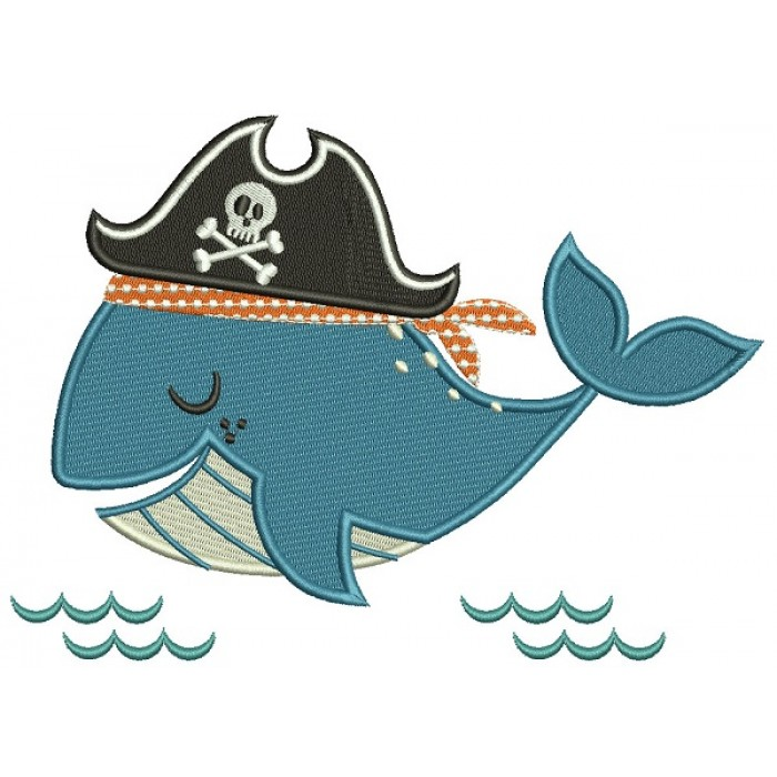 Pirate Whale Filled Machine Embroidery Design Digitized Pattern