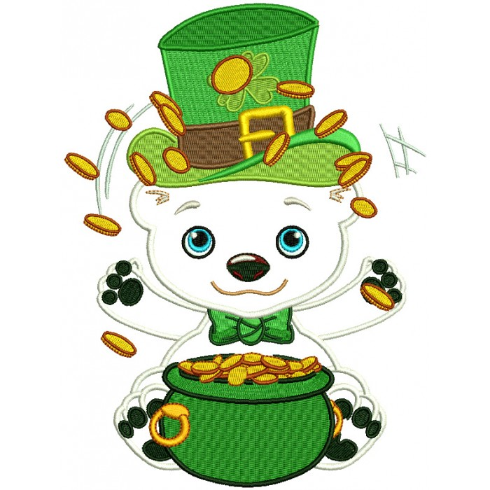 Polar Bear With a Pot Of Gold St. Patrick's Applique Machine Embroidery Design Digitized Pattern