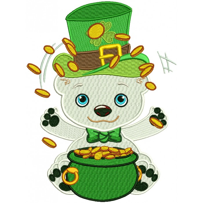 Polar Bear With a Pot Of Gold St. Patrick's Filled Machine Embroidery Design Digitized Pattern