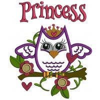Princess Owl Sitting on the Branch Applique Machine Embroidery Design Digitized Pattern