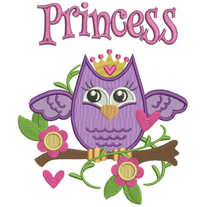 Princess Owl Sitting on the Branch Filled Machine Embroidery Design Digitized Pattern