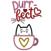 Purrfect Cat Cup Love Applique Machine Embroidery Design Digitized Pattern