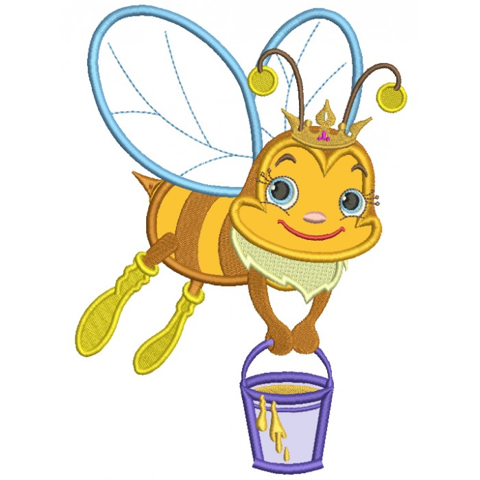 Queen Bee With A Bucket Full Of Honey Applique Machine Embroidery