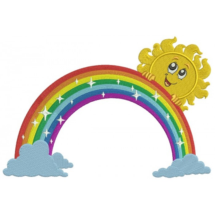 Rainbow With Clouds and Boy Sun Filled Machine Embroidery Design Digitized Pattern
