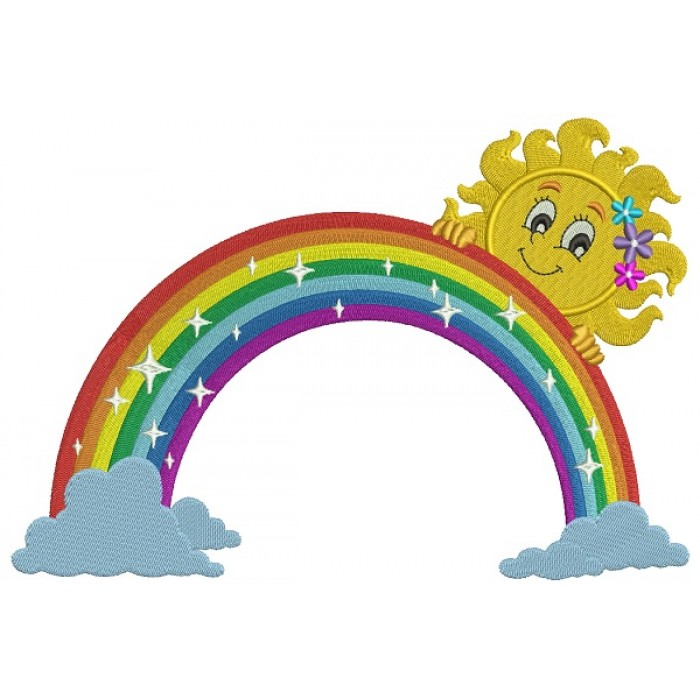 Rainbow With Clouds and Girl Sun Filled Machine Embroidery Design Digitized Pattern