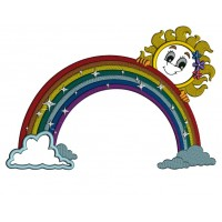Rainbow With Clouds and Sun Applique Machine Embroidery Design Digitized Pattern