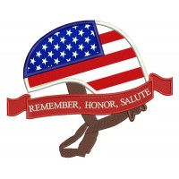 Remember Honor Salute American Flag Helmet Patriotic Applique Machine Embroidery Design Digitized Pattern