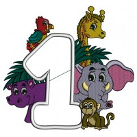 Safari Number One First Birthday Applique Machine Embroidery Design Digitized Pattern