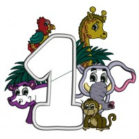 Safari Number One First Birthday Elepahnt and Hippo Applique Machine Embroidery Design Digitized Pattern