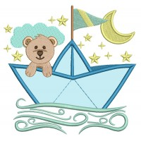 Sailor Teddy Bear Applique Machine Embroidery Design Digitized Pattern
