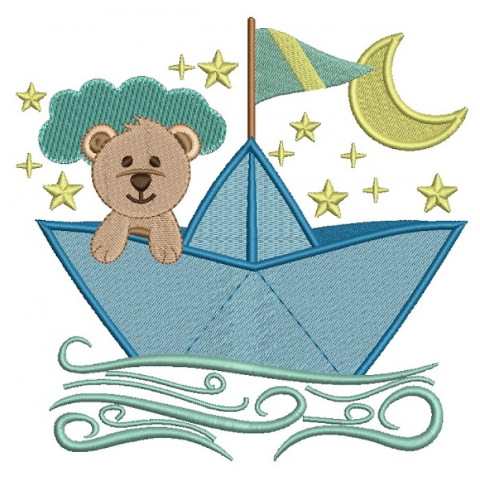 Sailor Teddy Bear Filled Machine Embroidery Design Digitized Pattern