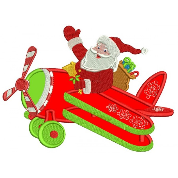 Santa Flying Airplane Christmas Applique Machine Embroidery Design Digitized Pattern