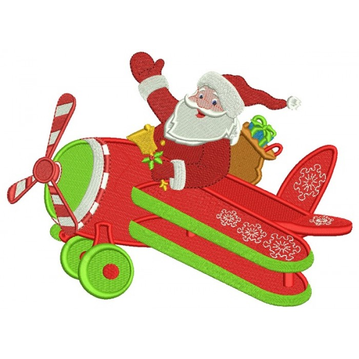 Santa Flying Airplane Christmas Filled Machine Embroidery Design Digitized Pattern