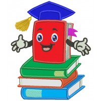 School Book Wearing Graduation Cap Applique Machine Embroidery Design Digitized Pattern