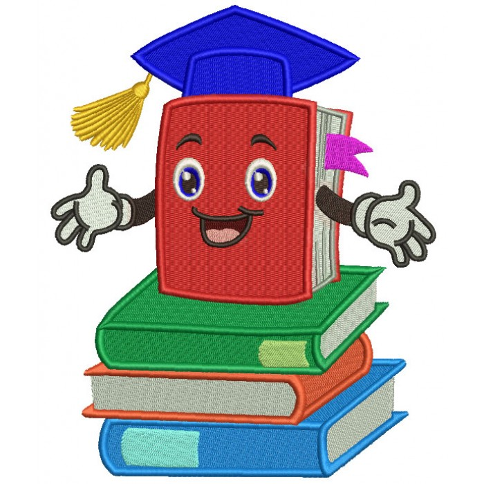 School Book Wearing Graduation Cap Filled Machine Embroidery Design Digitized Pattern