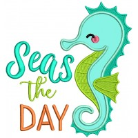 Seas The Day Seahorse Applique Machine Embroidery Design Digitized Pattern