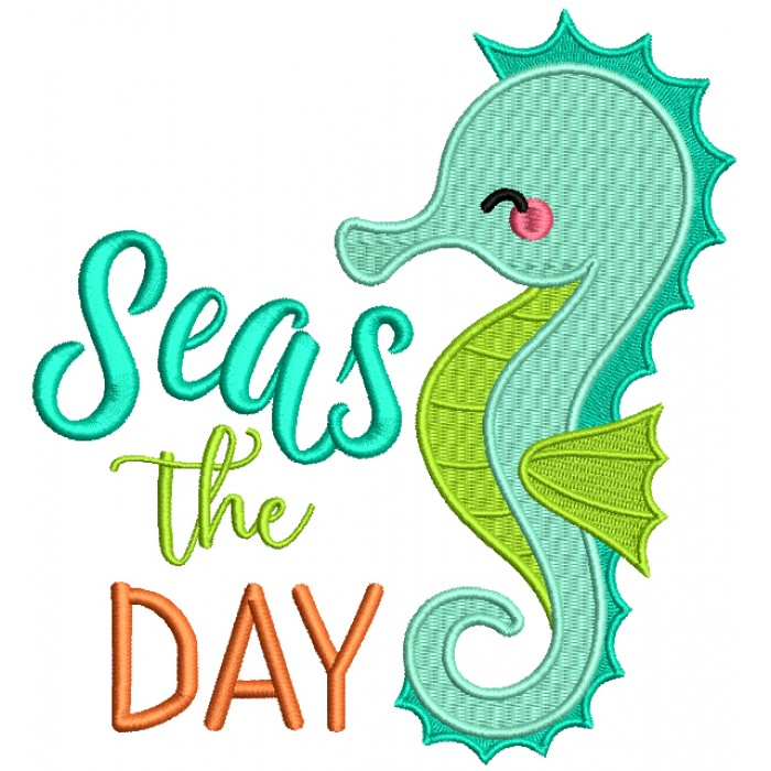 Seas The Day Seahorse Filled Machine Embroidery Design Digitized Pattern