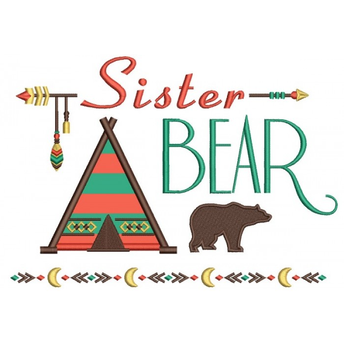 Sister Bear Tribal Applique Machine Embroidery Design Digitized Pattern