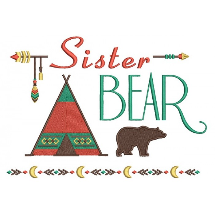 Sister Bear Tribal Filled Machine Embroidery Design Digitized Pattern