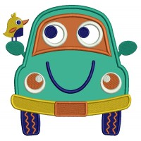 Smiling Car With a Bird Applique Machine Embroidery Design Digitized Pattern