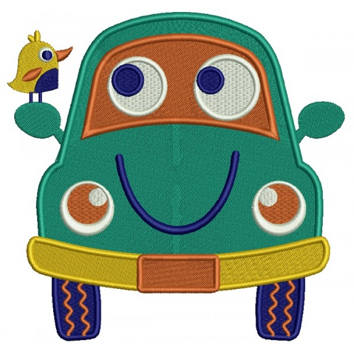 Smiling Car With a Bird Filled Machine Embroidery Design Digitized Pattern