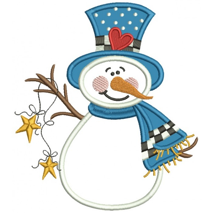 snowman wearing scarf and hat with a heart christmas applique machine embroidery design digitized pattern - Christmas Applique Designs