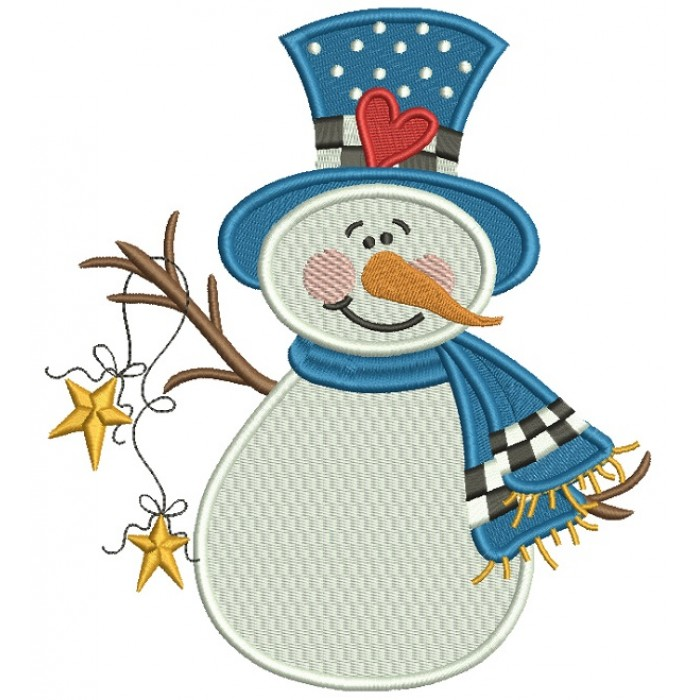 Snowman Wearing Scarf and Hat With a Heart Christmas Filled Machine Embroidery Design Digitized Pattern