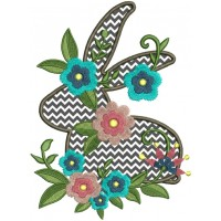 Spring Bunny With Flowers Applique Machine Embroidery Design Digitized Pattern