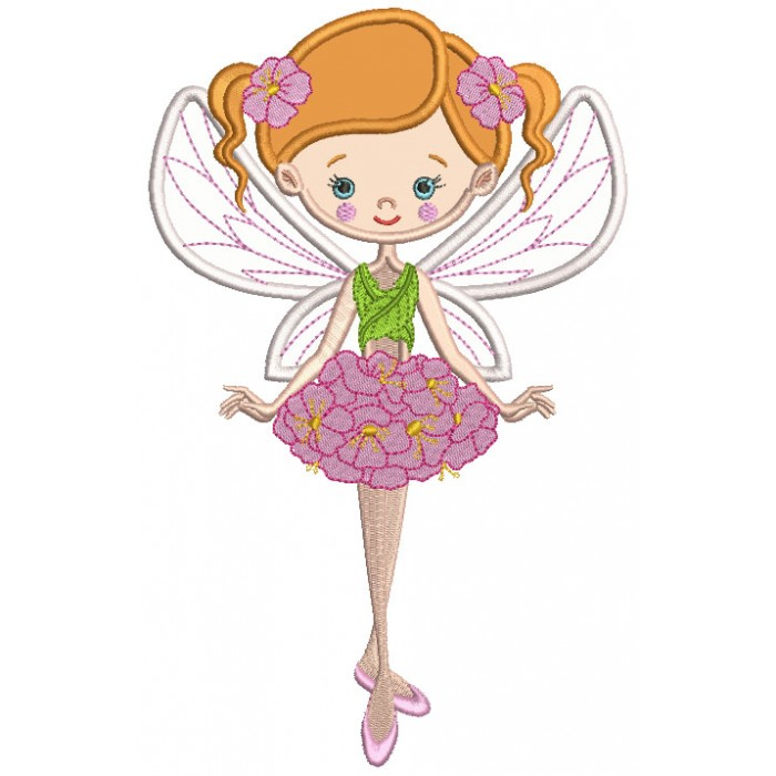 Spring Fairy Ballerina Applique Machine Embroidery Design Digitized Pattern