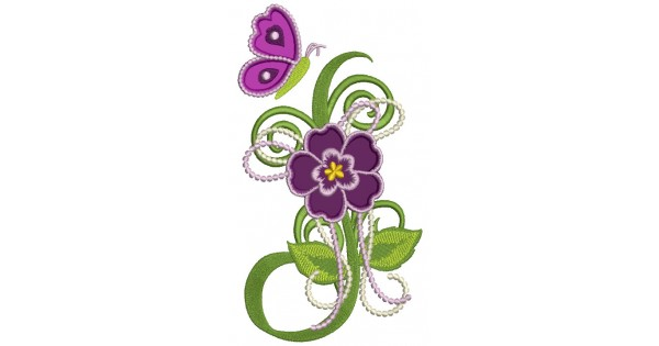 Spring flower with butterfly applique machine embroidery design