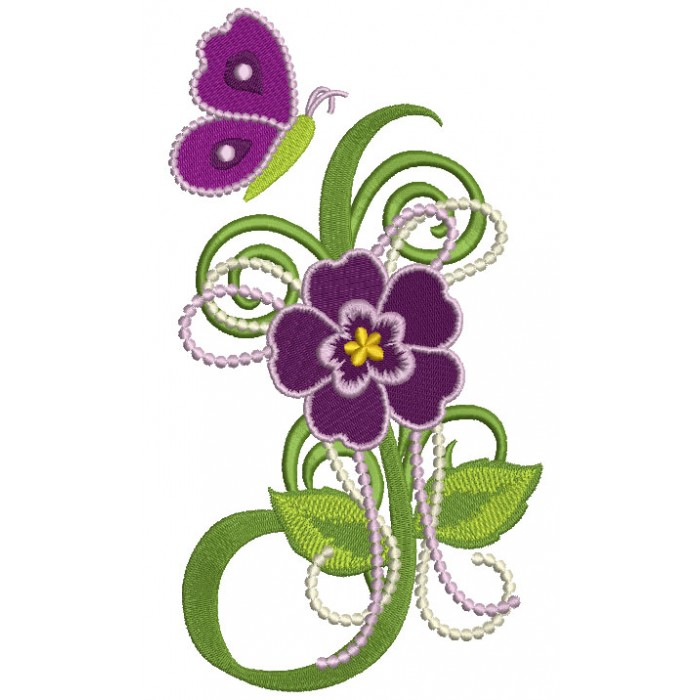 Spring Flower With Butterfly Filled Machine Embroidery Design