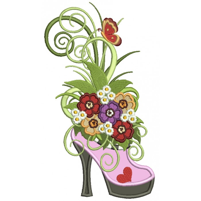 Spring Ornamental Shoe With Fancy Flowers Applique Machine Embroidery Design Digitized Pattern