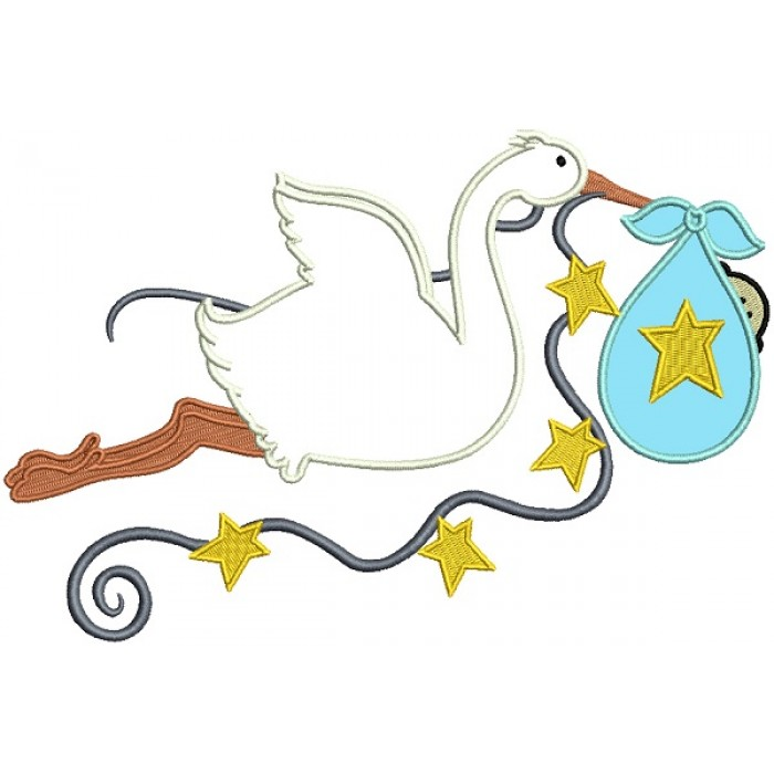 Stork Delivering a Baby Boy Applique Machine Embroidery Design Digitized Pattern
