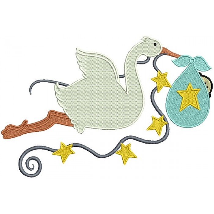 Stork Delivering a Baby Boy Filled Machine Embroidery Design Digitized Pattern
