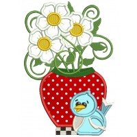 Strawberry Vase With Flowers And Bird Applique Machine Embroidery Design Digitized Pattern