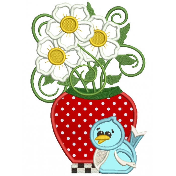 Strawberry Vase With Flowers And Bird Applique Machine Embroidery