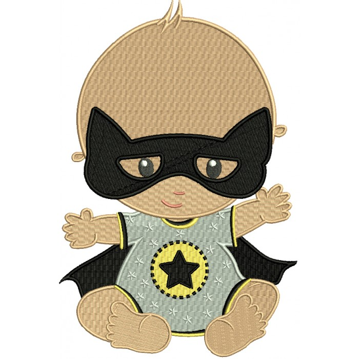 Super Baby Wearing a Mask Filled Machine Embroidery Design Digitized Pattern