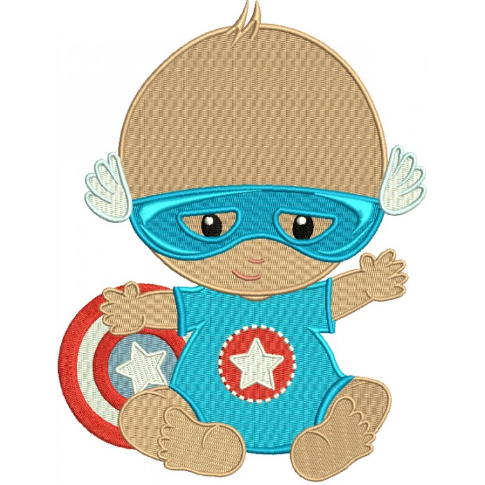 Super Hero Baby Filled Machine Embroidery Design Digitized Pattern