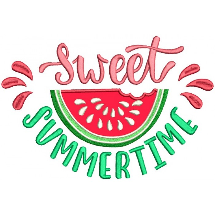Sweet Summertime Watermelon Applique Machine Embroidery Design Digitized Pattern