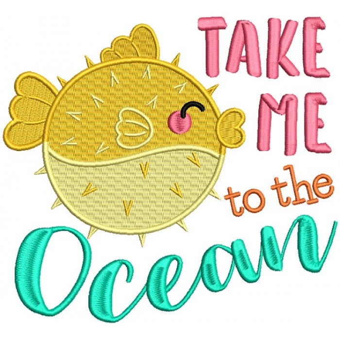 Take Me To The Ocean Blowfish Filled Machine Embroidery Design Digitized Pattern