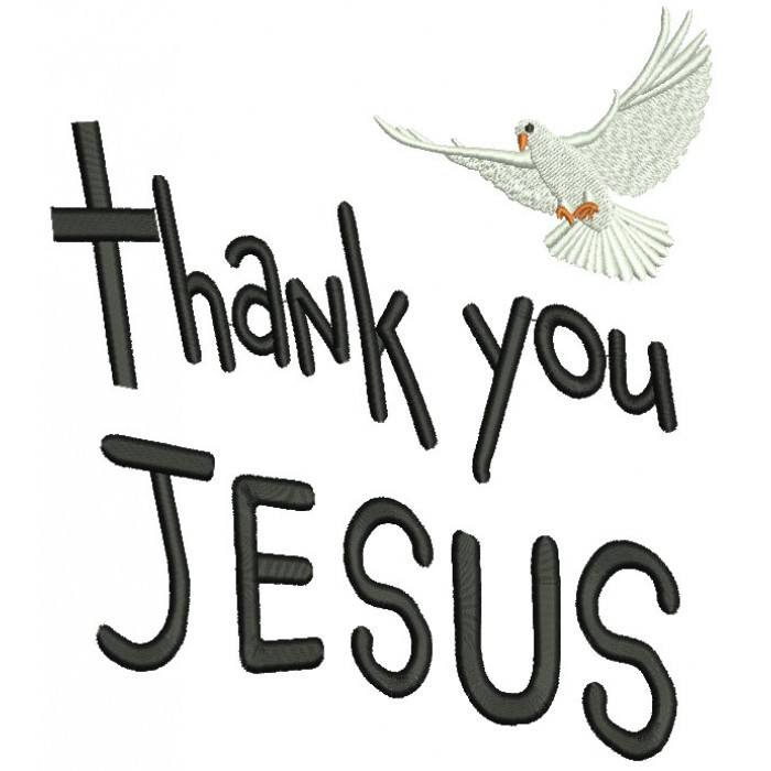Thank you Jesus Dove Filled Machine Embroidery Design Digitized Pattern