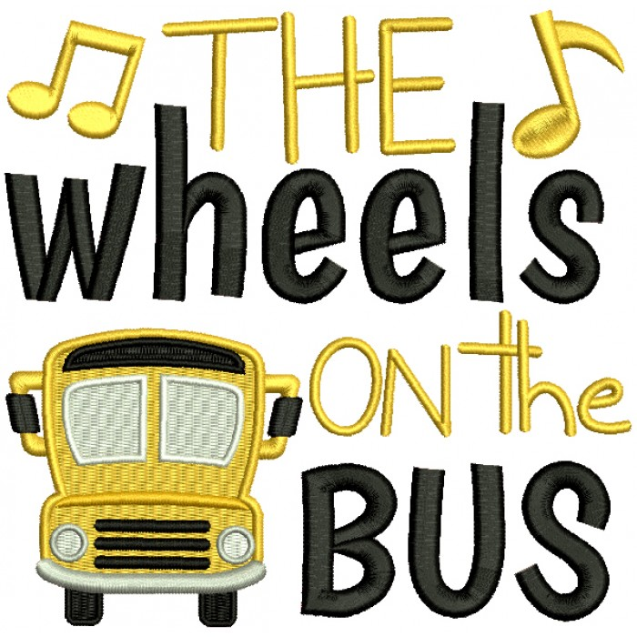 The Wheels On The Bus Children Rhymes Filled Machine Embroidery Design Digitized Pattern