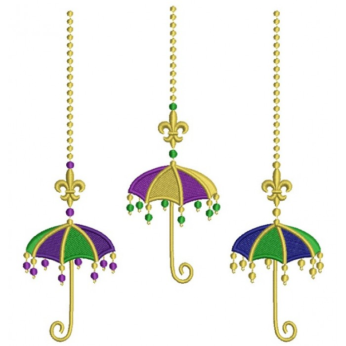 Three Mardi Grass Umbrellas Filled Machine Embroidery Design Digitized Pattern