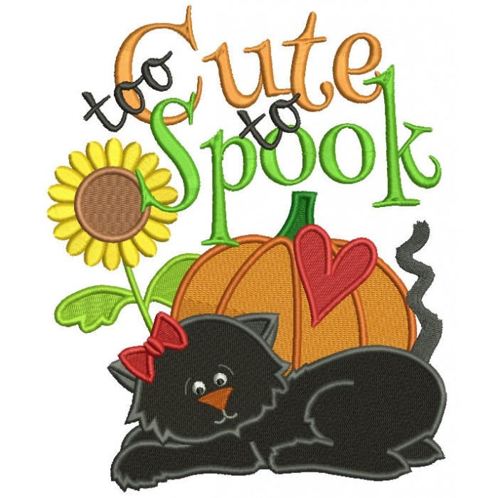 Too Cute To Spook Black Cat Halloween Filled Machine Embroidery Design Digitized Pattern