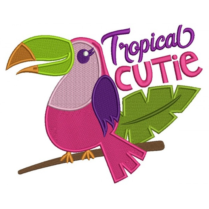 Toucan Bird Tropical Cutie Filled Machine Embroidery Design Digitized Pattern