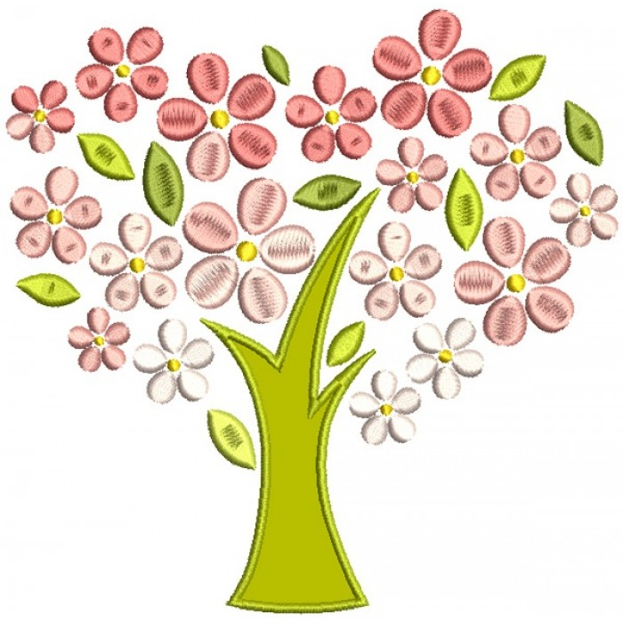 Tree With Flower Leaves Applique Machine Embroidery Design Digitized